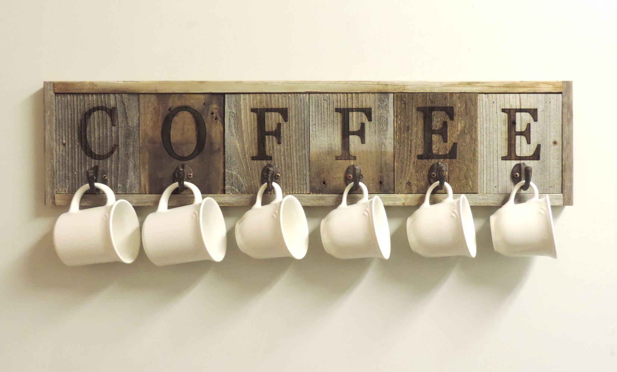 Horizontal Barnwood Coffee Mug Rack Wall Mount Cup Holder