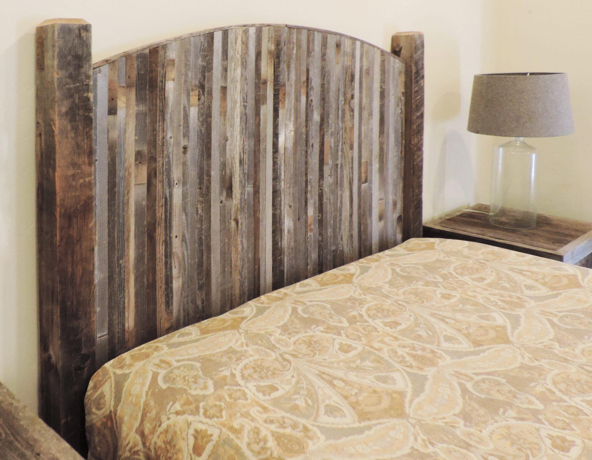 Farmhouse Style Arched Queen Bed Barn Wood Headboard W Narrow Rustic Reclaimed Wood Slats Allbarnwood