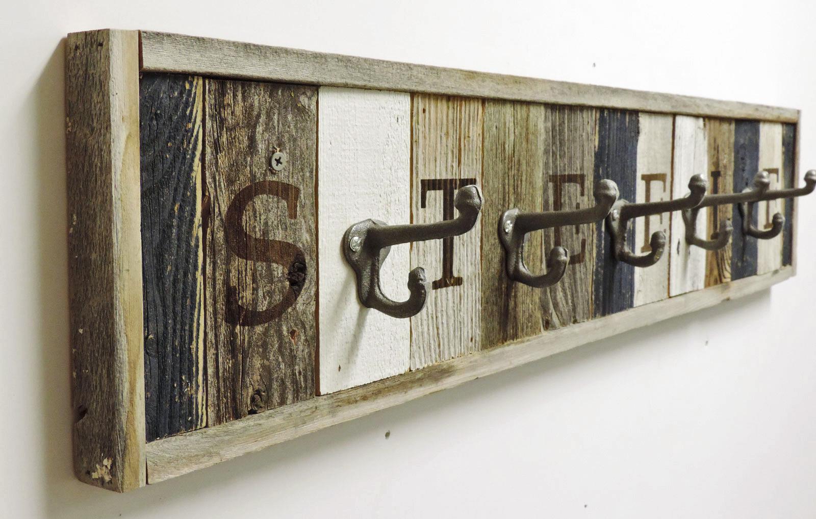 Personalized Reclaimed Wooden Coat Rack Barn Wood Hooks Allbarnwood