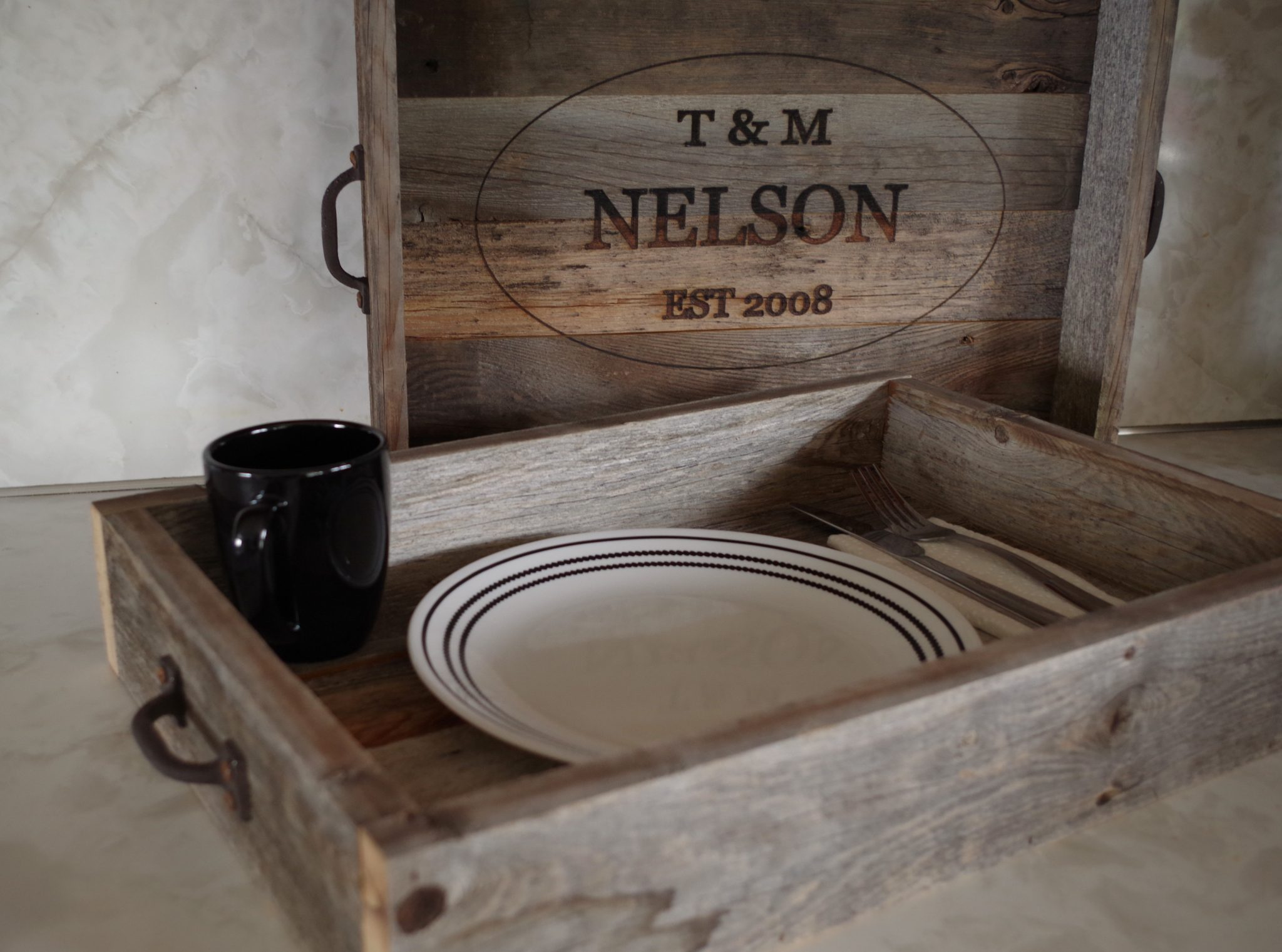 Wooden Ottoman Tray Top Personalized Serving Tray Rustic