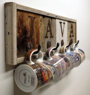 Horizontal barnwood Java Mug Rack