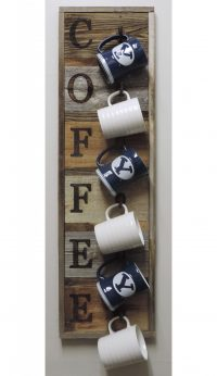 Vertical Barnwood Coffee Mug Rack