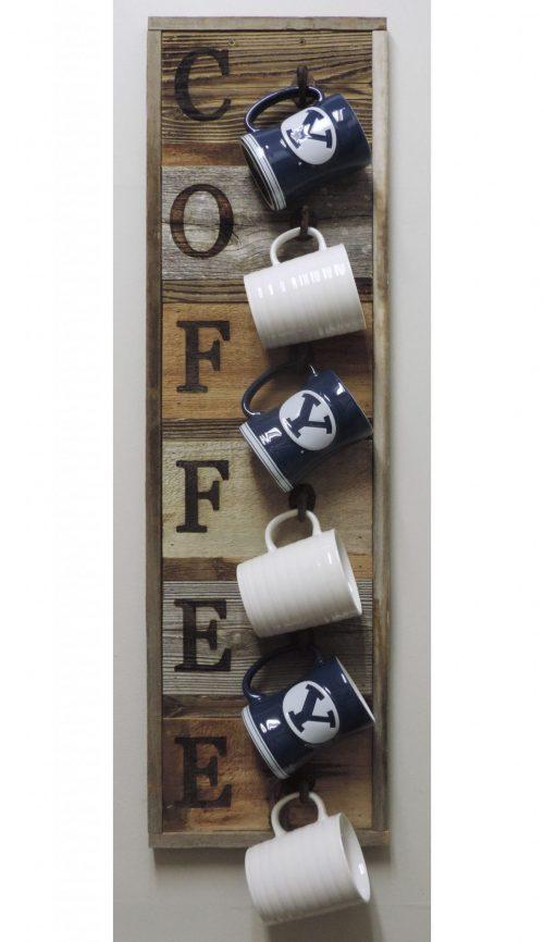 Vertical Barnwood Coffee Mug Rack