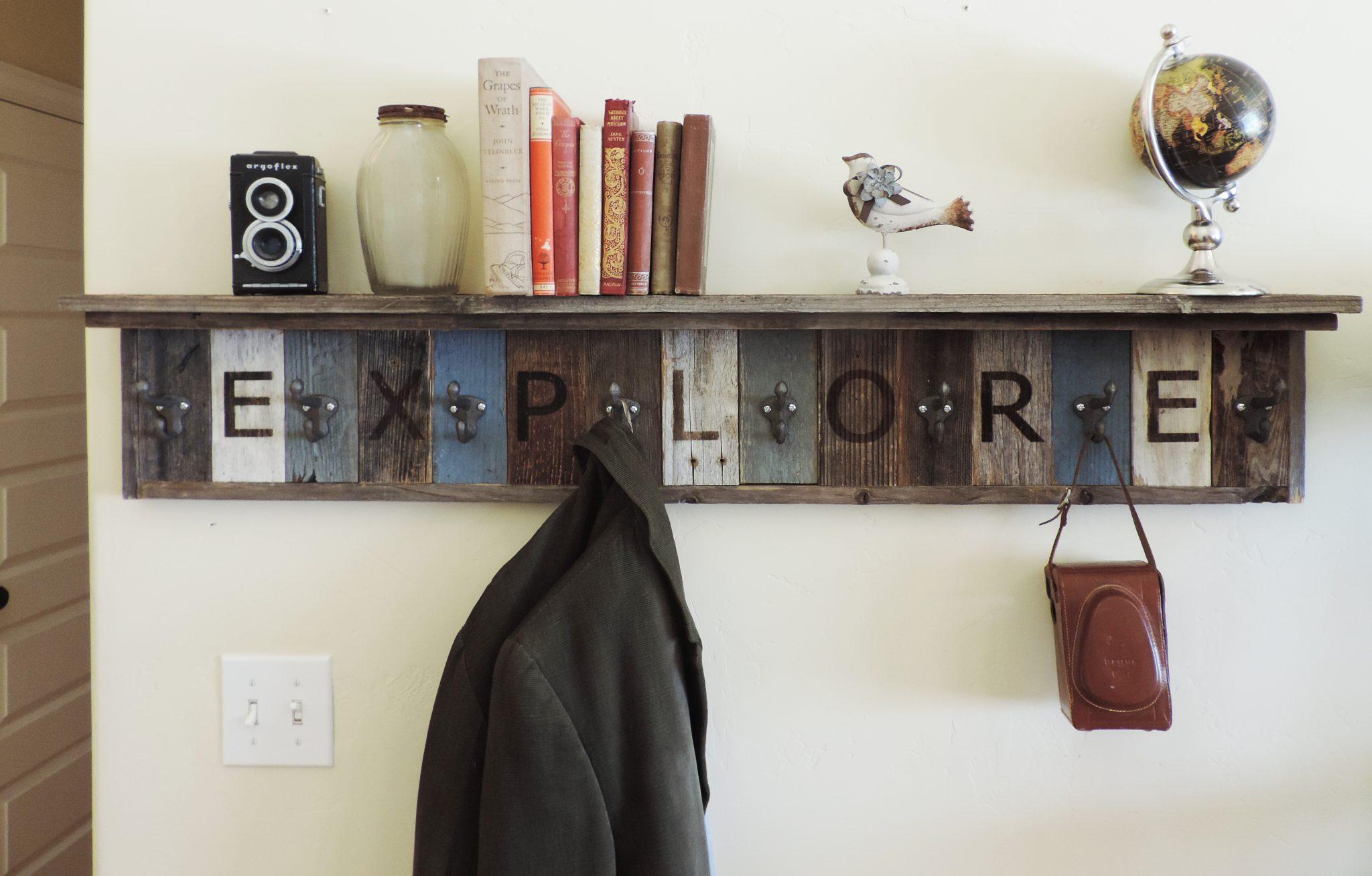 Personalized Reclaimed Wood Coat Rack Barn Hooks W 4 Deep Shelf