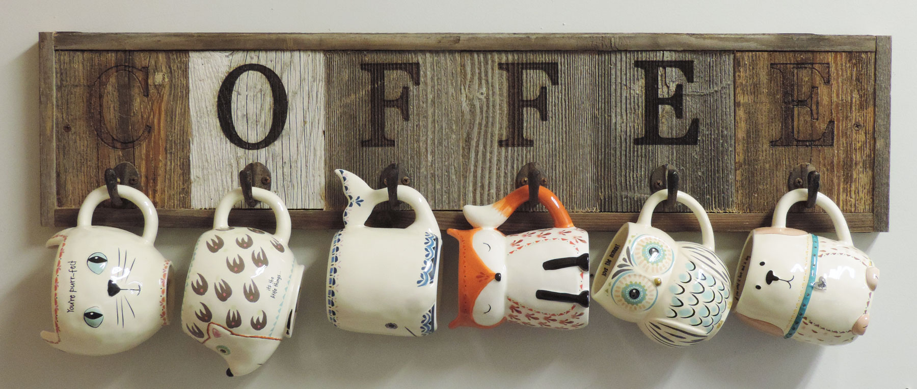 Horizontal Barnwood Coffee Mug Rack