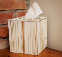Rustic wood tissue box