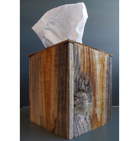 Rustic Reclaimed Barn Wood Square Tissue Box Cover
