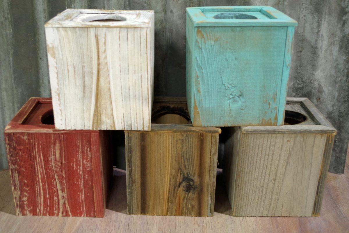 Rustic wood tissue box