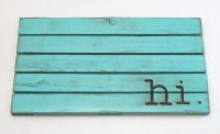 Hi Wooden Doormat Turquoise