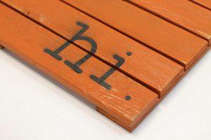 Hi Wooden Doormat Orange