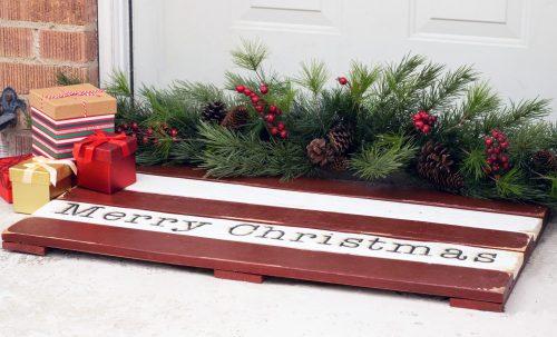 Merry Christmas Wooden Doormat