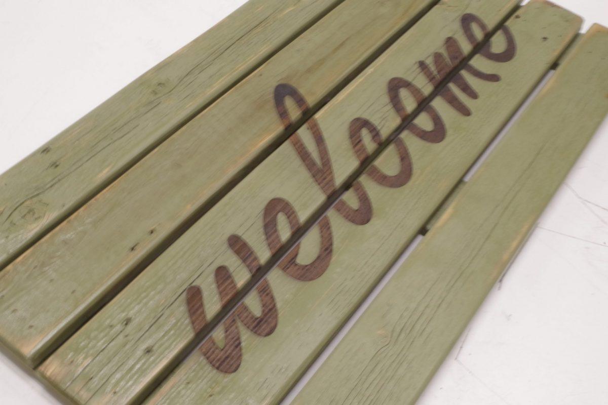 welcome wooden doormat