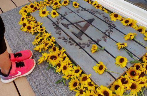 monogram wooden doormat