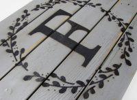 Monogram wooden doormat f