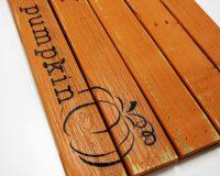 orange hey there pumpkin wooden doormat