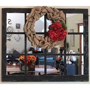 *****Large Window Pane Mirror with Fabric Wreath