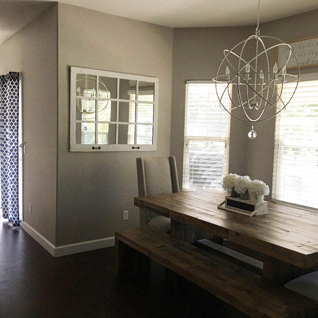 Modern Farm Table and farmhouse window mirror