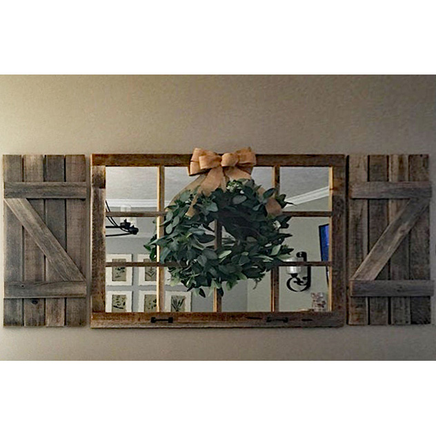 customer submitted picture of window pane mirror and rustic shutters