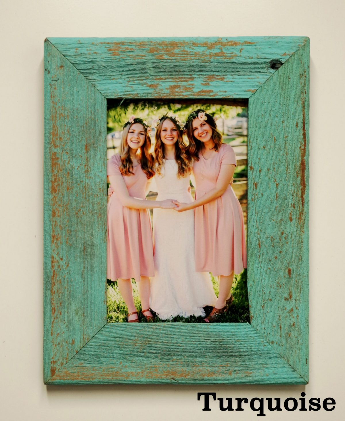 turquoise barnwood picture frame